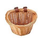 syiniix Small D Shape Wicker Bicycle Basket, Front Handlebar Basket for Bike, Height 6.25 inch. (Nature)