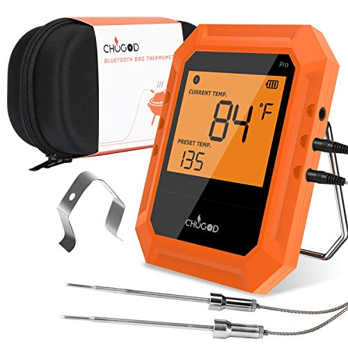 BBQ Meat Thermometer, Bluetooth Remote Cooking Thermometer, Digital Oven Thermometer with 6 Probe Port for Smoker Grilling (Carrying Case Included)