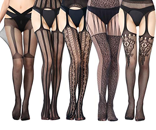 VicSec 5 Paar Frauen Sexy Netzstrumpfhose mit Strumpfband, Netzstrumpfband Strümpfe Oberschenkel Hohe Muster Elegante und Erotische Feine Spitze für Damen - Open Crotch