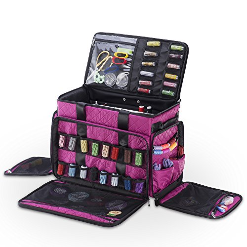 Check Out This DeNOA Large Rolling Sewing Machine Storage Tote with Pockets, Orchid Purple