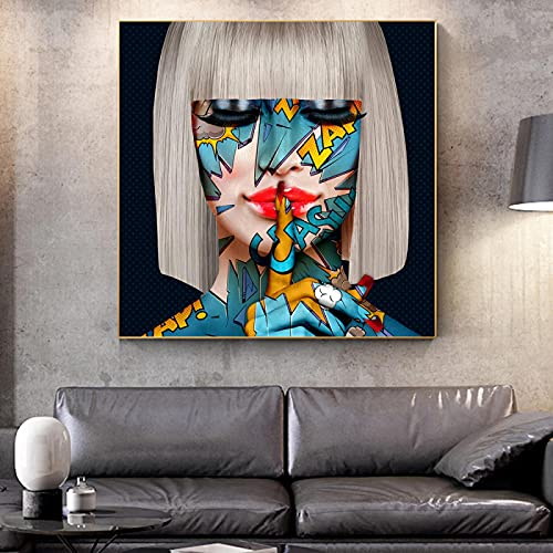 YRWL Impresión de Lienzo Pintura Graffiti Rojo Labios Shush Gafas Chica Arte Moderno Cuadro de Pared Mujeres Sala de Estar decoración del hogar Cartel 20x20cm sin Marco