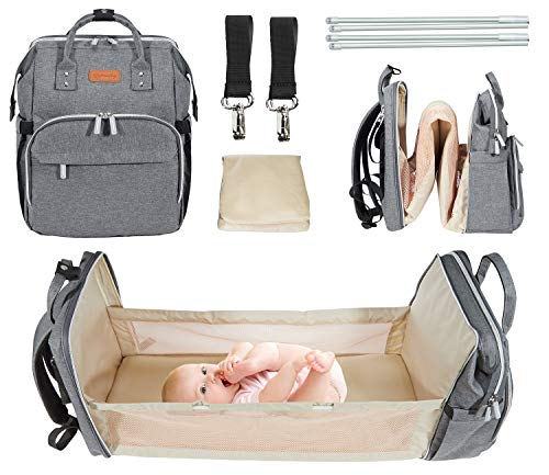 5-in-1 Travel Bassinet Foldable Diaper Bag, Portable Baby Bed Changing Station Mommy Bag Backpack, Multifunctional Large Capacity, Travel Crib Infant Sleeper, Baby Nest with Mattress (Gray)