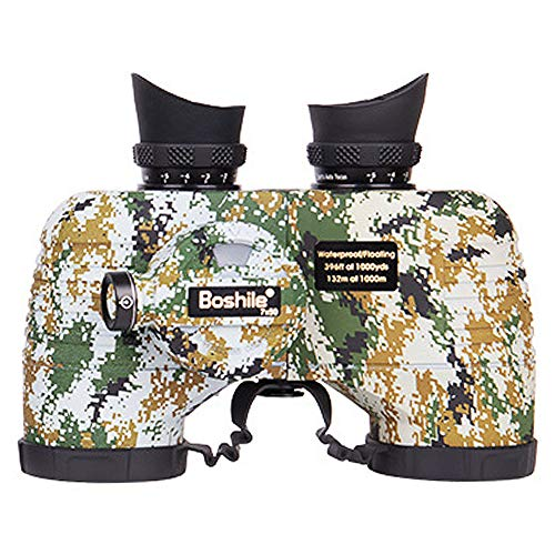 7x50 Prismáticos de Telémetro con Brújula Binoculares Impermeables de Gran Campo de Visión para Adultos para Observación de Aves, Caza, Viajes,Camouflage