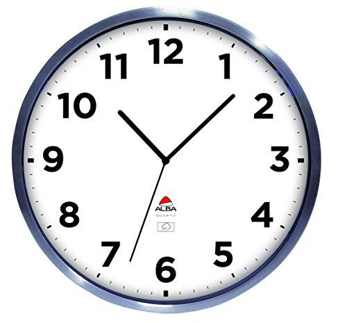 ALBA - Horloge Murale - Grand Format - Horloge d'Extérieur - Radio Pilotée - Métal et Verre - Résiste à l'Eau - Mise à l'Heure Automatique - 35,5 cm - Gris - HOREXTRARC