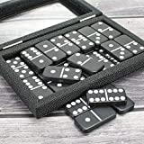 Dominoes Set Double 6 - Magnetic Leather Covered Wood Case Dominoes Board Game Holiday Party Entertainment