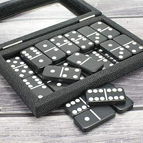 Dominoes Set Double 6 Comes with Magnetic Leather Covered Wood Case Dominoes Board Game Holiday Party Entertainment
