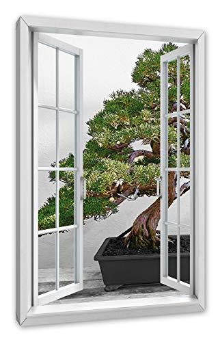 Pixxprint Bonsai Baum auf Holztisch, Fenster Leinwandbild  Größe: 80x60 cm   Wandbild   Kunstdruck
