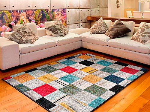 Universal Alfombra geométrica Anouk Check Multicolor, 100% Polipropileno, 120 x 170 cm