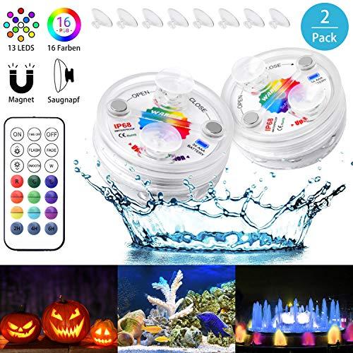 WARMQ 13 LED Poolbeleuchtung unterwasser Led Licht Wasserdichte Multifarbige RGB Beleuchtung mit RF Fernbedienung für Teich Schwimmbad Garten, Party Fest Dekoration,SPA, Aquarium, Inneneinrichtung