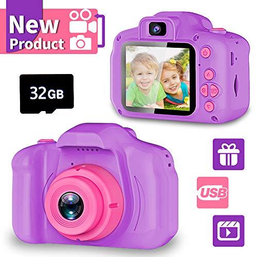 YORKOO Kinder Selfie Kamera HD Digitalkamera für Kinder Geschenk für 4-10 Jahre Mädchen Fotoapparat Kinderkamera Videokamera Bestes Geburtstag Spielzeug für Kinder Lila