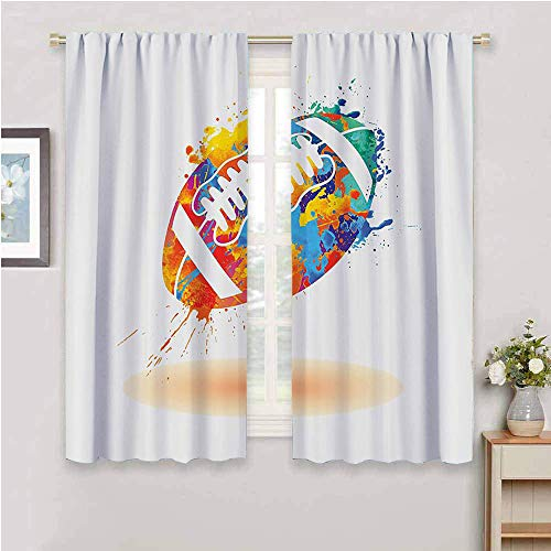 Sports Decor Kitchen Curtain, Curtains 63 inch Length Rugby Ball with Rainbow Brush Effects Filled Covered with Colors Sports Sign Leisure Design Room Darkened Multi W72 x L63 Inch