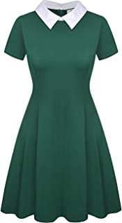 Aphratti Women's Short Sleeve Casual Peter Pan Collar Flare Dress