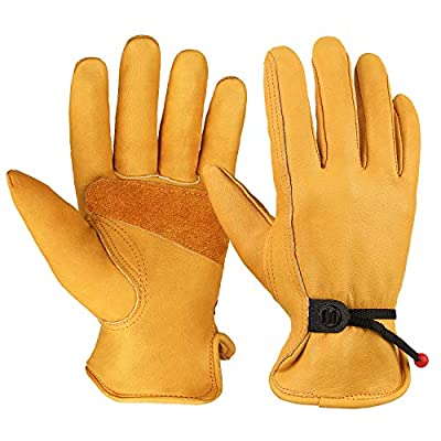 OZERO Flex Grip Leather Work Gloves Adjustable Wrist Tough Cowhide Garden Glove for Men and Women 1 Pair (Gold, Large)