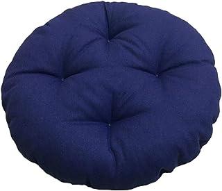 Cojín redondo para asiento de exterior, para interior y exterior, suave, cojín de piedra gruesa, antideslizante, con funda elástica (azul oscuro, 40 x 40 x 7 cm)