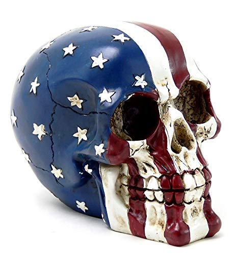 Bellaa 26942 American Flag Skull Statue Patriot USA Stars Stripes Tattoo Figurine 5 inch