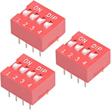 uxcell 3 Pcs Red DIP Switch Horizontal 1-4 Positions 2.54mm Pitch for Circuit Breadboards PCB