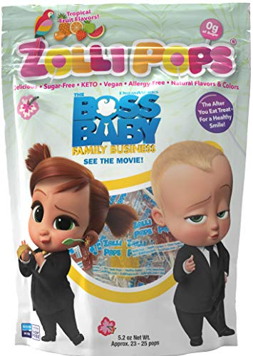 Zollipops The Clean Teeth Pops - Boss Baby, Anti Cavity Lollipops, Delicious Flavors, Tropical, 3.1 Ounce