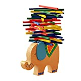 Routefuture Jouet éducatif pour Enfants Pas Cher, Jouet en Bois éléphant Jeu d'équilibre Formes à Trier et à Empiler, Cadeau d'anniversaire Educatif pour Fille et Garçon de 3 4 5 6 Ans et Plus