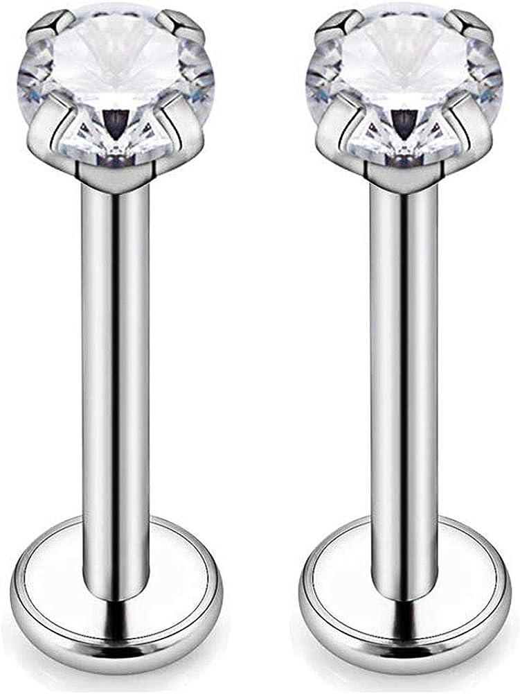 CIZME 16g G23 Titanium Labret Monroe Lip Rings 3mm CZ Internally Threaded Helix Cartilage Tragus Earring Studs Piercing 6mm 8mm 10mm