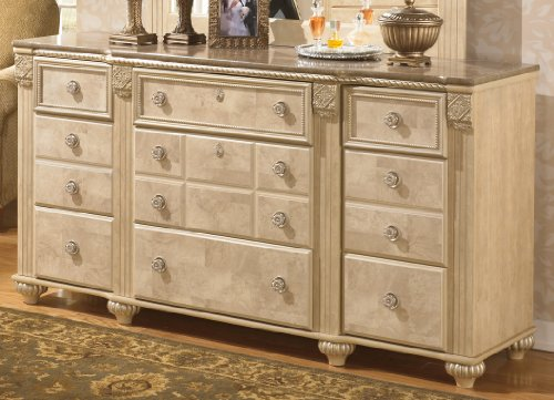 Ashley Furniture Signature Design - Saveaha Dresser - 9 Drawers - Traditional Faux Marble Top - Light Beige