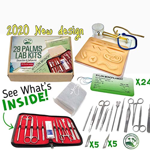 29 Lab Kits Suture Practice Kit with Suture Guide, High # of Sutures, Surgical Dissection Tools, White Suture Pad, Tool Bag, and Carrying Case 45 Pieces