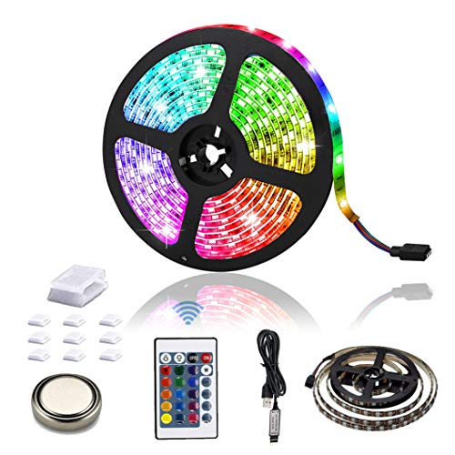 HYEU LED Strips Lights, 2M 6.56FT Remote Control LEDs Colour Changing RGB 5050 Kit Mood Lighting LED Strips for TV DIY Room Kitchen Bar Home Christmas Decoration with 24key Remote & Battery