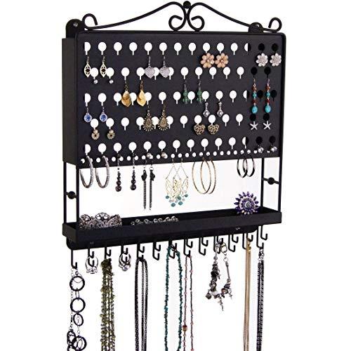 Angelynn's Ohrringhalter Organizer Display Rack Wandmontage Hängeschrank Schmuck Aufbewahrung Rack Kleiderbügel, Metall, Schwarz, Accessory Angel 16.25x14.5 with Necklace Hooks