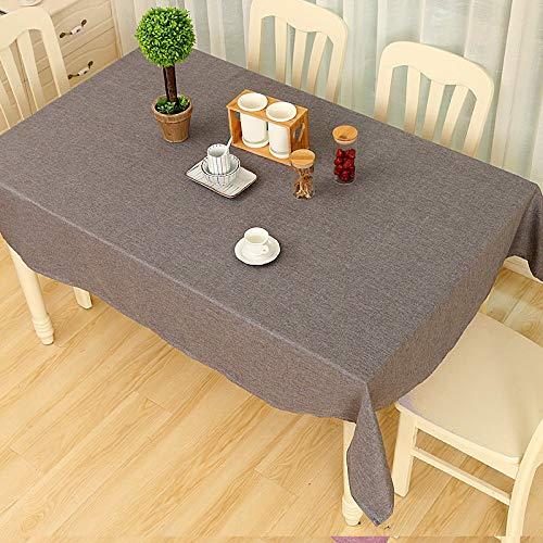 Wařm Mantel Color Sólido Decorativo de Lino con Mantel de Mesa de Comedor Decoración del Hogar Rectángulo Mantel Gris Oscuro 140x180CM