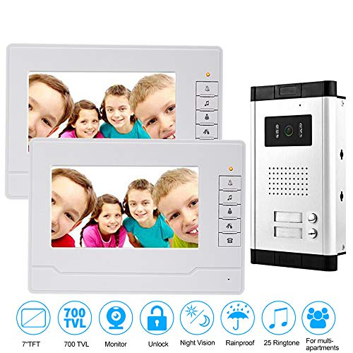uoweky 7 \'\' Video-Türsprechanlage mit Gegensprechanlage RFID-Zugang Eingang Kamera Türklingel 2 Monitore Multi-Apartments/Familie/Zuhause