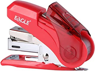 Eagle Reduced Effort Mini Stapler, Maximum 20 Sheets Capacity, with 1000 Staples, 50% Less Effort, Built-in Staple Remover and Staples Storage (Red)