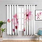 Acuarela flor decoración colección negro fuera cortinas para dormitorio amapola imagen en colores suaves efecto acuarela muebles protectores suave rosa y blanco W63 x L72 pulgadas
