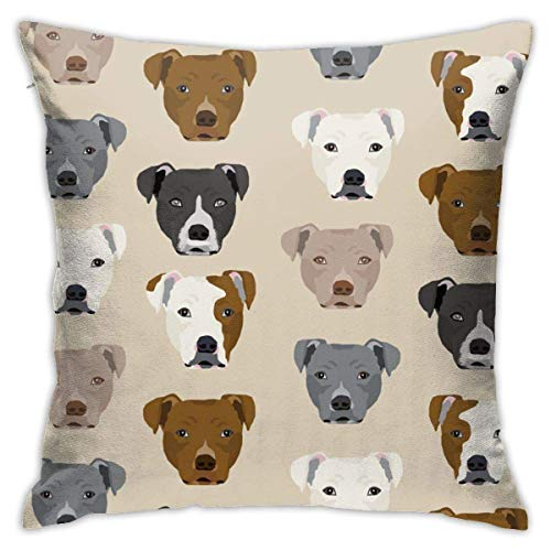 N/C Pillow Covers Decorative Square Pillowcase Soft Pitbull Heads Cushion Case for Sofa Bedroom Car 18 x 18 Inch