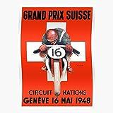 Moto Gp Grand Automobile Race Prix Geneva Advertising Switzerland Car Vintage Racing Regalo para la decoración del hogar Wall Art Print Poster 11.7 x 16.5 inch