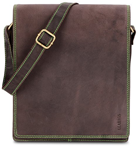 LEABAGS London Neon genuine buffalo leather messenger bag in vintage style - NeonGreen
