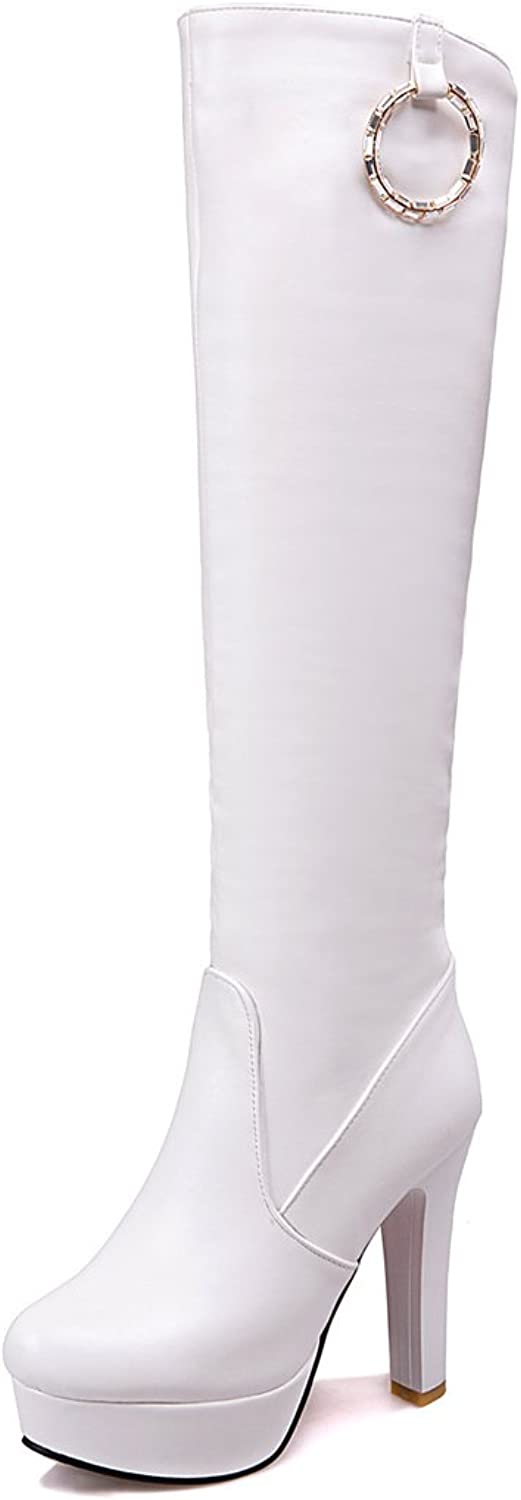 Lucksender Womens Round Toe Platform Side Zip Knee High Boots