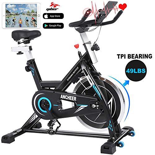ANCHEER Indoor Cycle Ergometer Heimtrainer, 22kg Schwungrad Hometrainer mit Pulsmesser, LCD Anzeige, Flasche- und Tabletshalter, Armauflage,gepolsterte