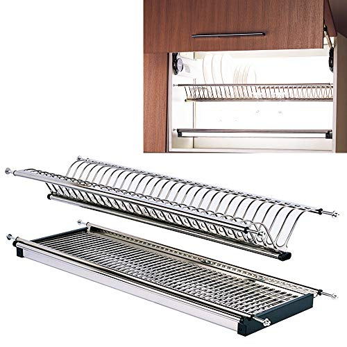 Modern 2-Tier Stainless Steel Folding Dish Drying Dryer Rack 900mm(36') Drainer Plate Bowl Storage Organizer Holder for Cabinet Width 860mm(34')-875mm(34.5')