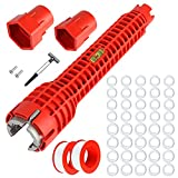 Faucet and Sink Installer,Multi-purpose Wrench (Nuts/Shut off valves/Strainer Baskets/Line&Faucet Nuts) for Toilet Bowl/Sink/Bathroom/Kitchen Plumbing-with 40 Washer Gasket and 2 Thread Seal Tape