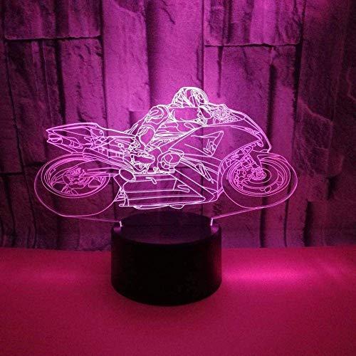 Motocicleta 3D Luz de noche LED Colorido Deslizamiento Cambio de color USB Pantalla táctil Control remoto Dormitorio Decoración Lámpara de mesa Cumpleaños Vacaciones Navidad Regalo creativo