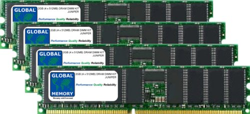 2GB (4 x 512MB) DRAM DIMM MEMORY RAM KIT FOR JUNIPER M320, T320, T640 ROUTERS RE-4.0 / RE-1600 ROUTING ENGINE (RE-1600-2048-WW-S, RE-1600-2048-S, RE-1600-2048-R)