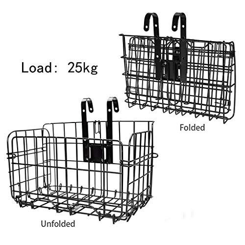 AZEWO Folding Rear Bike Basket Wire Mesh Fold-Up Detachable Front Bag Rear Hanging Bike Basket Bicycle Bag Cargo Rack for Mountain Bike Accessories Bike Frame Basket 1 Pack (Black)