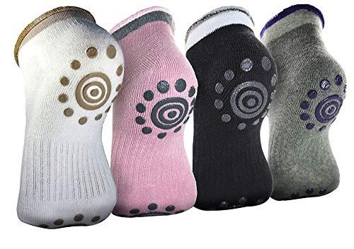 JUNSHUO 4 paar yoga sokken, katoenen dot sok voor vrouwen bloem patroon verdrijven anti-slip ademende Grip sokken voor pilates, barre, ballet, dans en fitness sport
