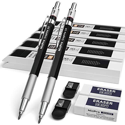 Nicpro 2mm Metal Mechanical Pencil Set, 2PCS Lead Holder 2.0 mm Artist Carpenter Pencil with Graphite Lead Refill HB, 2H, 4H, 2B, 4B, Eraser for Drafting, Drawing, Writing, Shading, Sketching