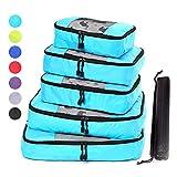 ZFMG Packwürfel Set Mit Kompression | Packing Cubes | Set & Gepäck Organizer Für Rucksack & Koffer | Extra Leichte Kleidertaschen | 6-Teilig,Sky Blue