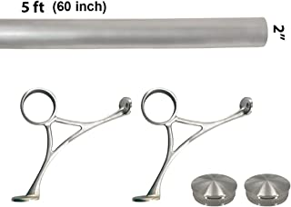 Bar Foot Rail Kit (Custom-Made Item) - Brushed Stainless Steel Tubing (2 in OD, 5 ft Length) - Combination Foot Rail Brackets - Tapered End Caps