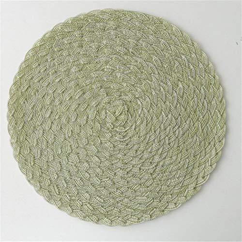 LZZR Nordic Runde PVC Tischset Woven Tischmatten Isolierung Pad Anti-Rutsch-Disc Bowl Pads Getränk Cup Coaster Home Küchenzubehör (Color : Green, Size : Round)