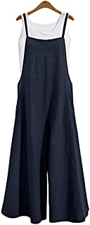 Women's Baggy Plus Size Overalls Cotton Linen Jumpsuits Wide Leg Harem Pants Casual Rompers