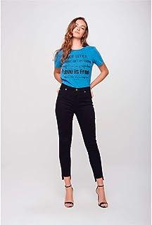Calça Cropped Jeans Preto Cintura Alta