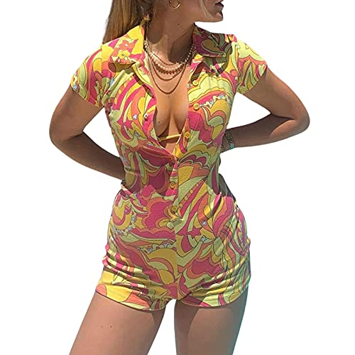 Short Sleeve Jumpsuit for Women Bodycon Sexy V Neck Skinny Pants Buttons Rompers Shorts Clubwear Overall (Yellow , Small )