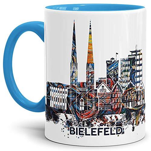 Tassendruck Bielefeld-Tasse Skyline - Kaffeetasse/Silhouette/Souvenir/Städte-Tasse/Mug/Cup/Becher/Beste Qualität - 25 Jahre Erfahrung - Innen & Henkel Hellblau